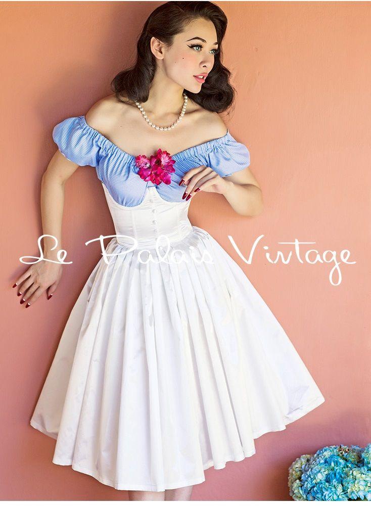 vintage elegant retro white satin fish bone high waist pleated full skirt