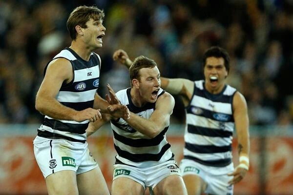 Geelong cats celebrate