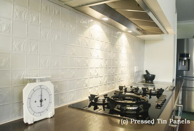 Pressed Tin Panels Wall Panel Design Installed Example Kitchen Splash Back Powder Coat White