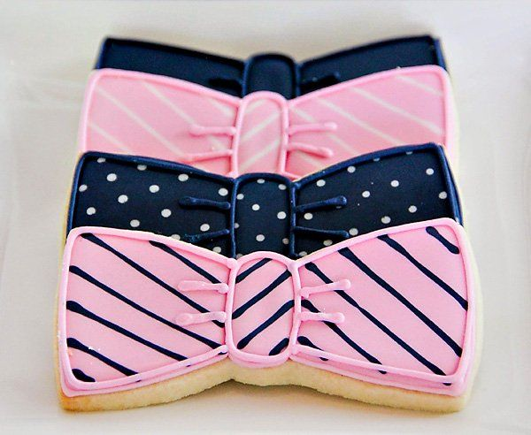 {Pink & Navy} Preppy Tie Birthday Party with a preppy tie shop, bow tie cupcake toppers, polka dot cake, stripe centerpieces, macarons, necktie favors.