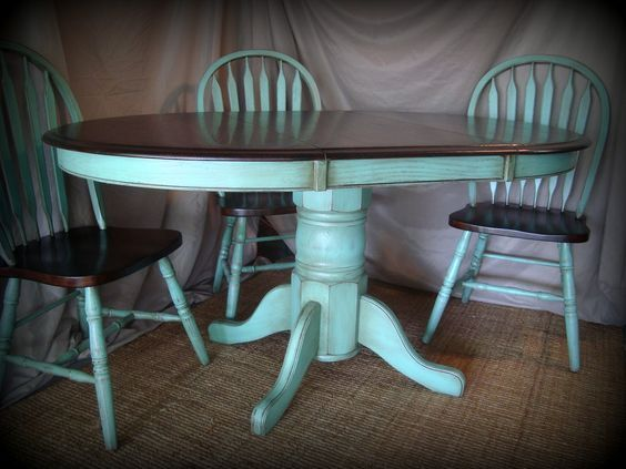 kitchen table refinishing ideas pictures | stained the table top and chairs with dark walnut.