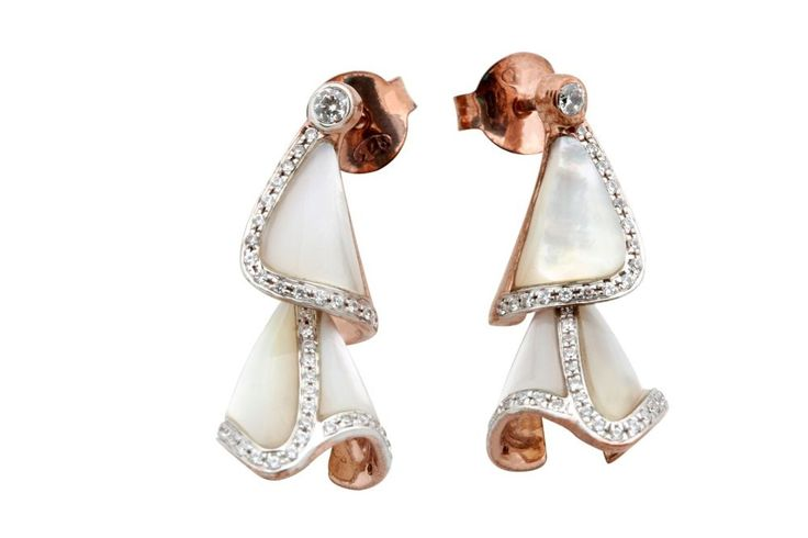 Attractive Natural White Shell Earrings With Beauteous Design in Sterling Silver #FacetsJewels #NaturalWhiteShellEarring