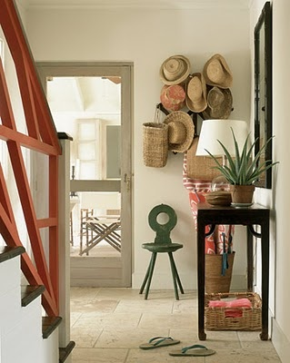 an entry with character: Straw Hats, Ideas, Interior, Beach House, Color, Design, Screen Doors, Entryway