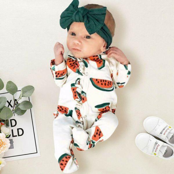 14 99 22 Off بذلة مريحة بأكمام طويلة بطباعة البطيخ ظريفة ملابس للأولاد والبنات للأطفال حديث Baby Girl Outfits Newborn Baby Girl Newborn Baby Girl Clothes
