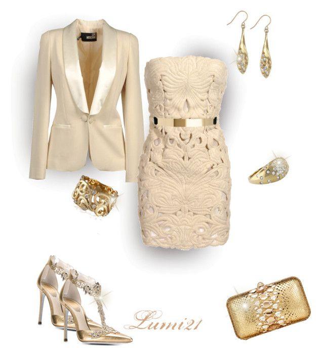 stella by lumi-21 on Polyvore featuring STELLA McCARTNEY, Love Moschino, René Caovilla, Zagliani, Effy Jewelry, The Sak, ASOS, gold, party and StellaMcCartney