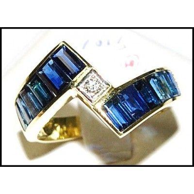 Blue Sapphire For Men Genuine Diamond 18K Yellow Gold Ring