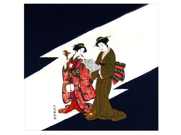 "Japanese Furoshiki Wrapping Cloth Scarf Tapestry 27/"" Rayon Chirimen Fabric Bijin"