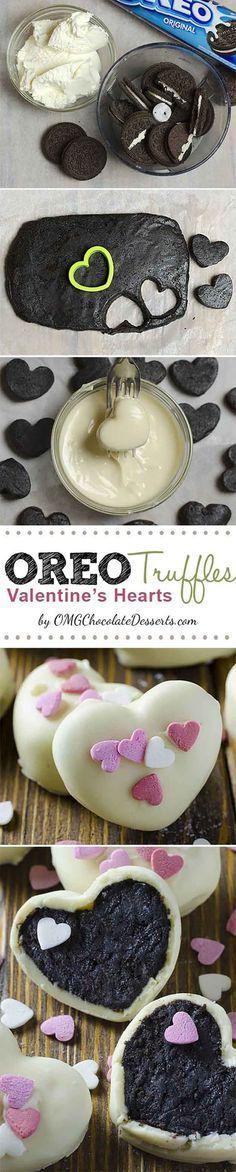 Oreo Truffle Valentines Hearts | 25 Valentines Day Treats That Look Way Too Good…