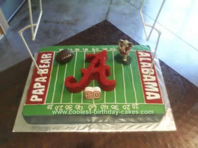 "I made this Alabama Football Birthday Cake for Alabama's biggest fan, my dad, for his 60th birthday.  I bought the mold for the ""Big A"", ""Big AL"" resin"