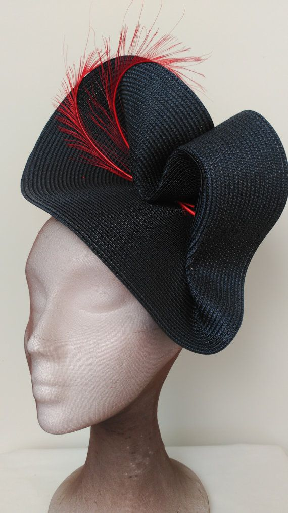 Custom hat, blue and red fascinator. Weddinh hat blue and red
