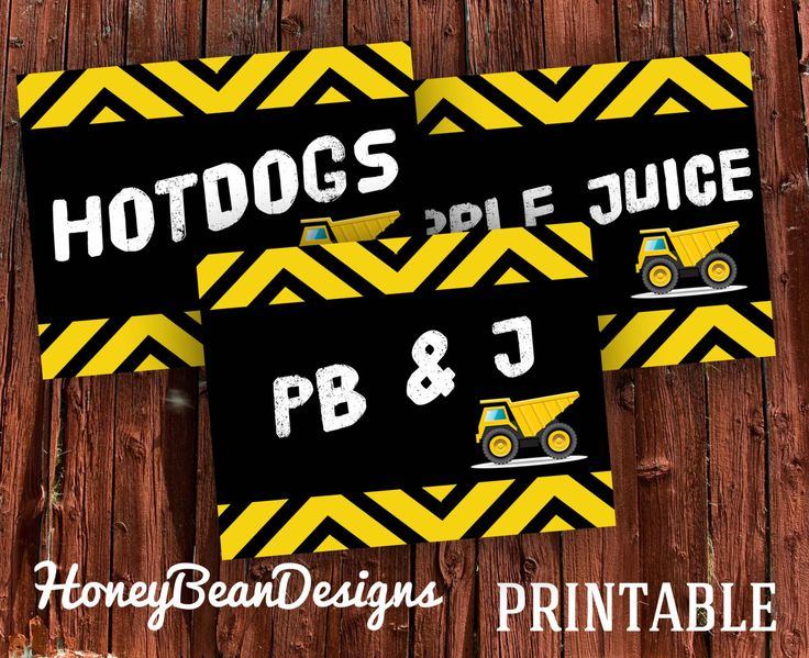 PRINTABLE Construction Dump Truck Birthday Party Food Signs by HoneyBeanDesigns on Etsy