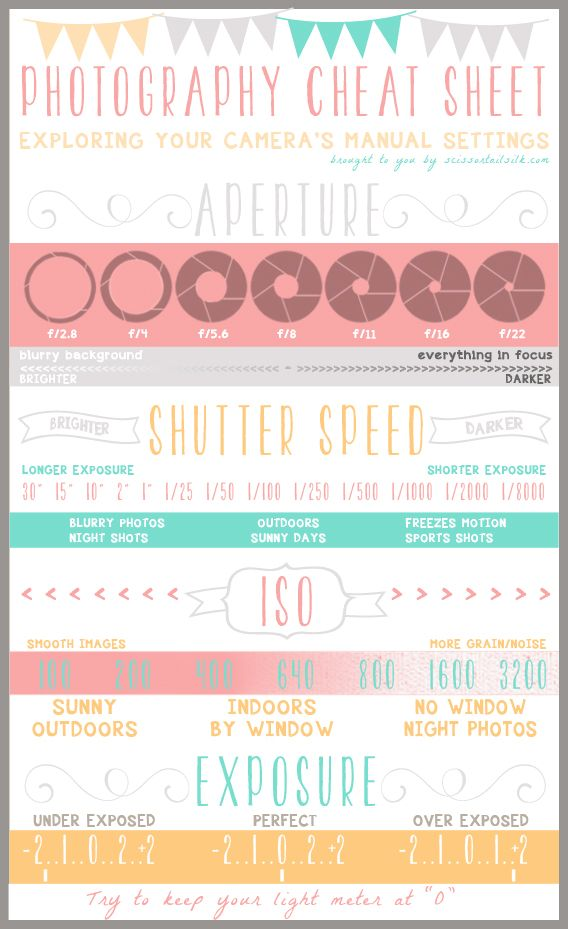 Becky Thompson created this Photography 101 - Cheat Sheet & Camera Basics reference guide to outline important photography terms like aperture, shutter speed, ISO and exposure. She offers tips for the right settings for each, depending on how you want your photos to look.