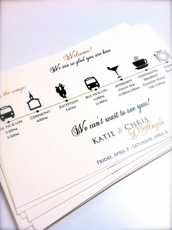 Wedding Itinerary Cards by JaxDesigns27 on Etsy  - could include info on the gifts in the bag as well, like the fact that the cookies were baked by my mum