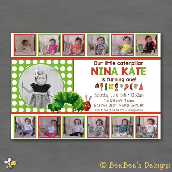 47 best birthday party invitations images on pinterest birthday eric carle the very hungry caterpillar birthday party invitation collage first birthday photo card filmwisefo Choice Image