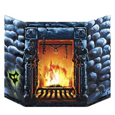 """Scary fireplace - would be cool to make a a """"cover"""" for fireplace that can be taken down after halloween!"""
