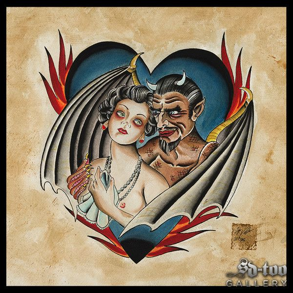"The Devil and Miss Jones - 16x16"" Inkjet Giclee Art Print - SD-too Gallery - Tonya Van Parys - The Red Crow Studio Tattoo Artist Print - http://shop.sd-too.com"