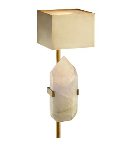 Visual Comfort KW 2092AB/Q Kelly Wearstler Modern Halcyon Sconce in Antique-Burnished Brass and Quartz with Antique-Burnished Brass Shade