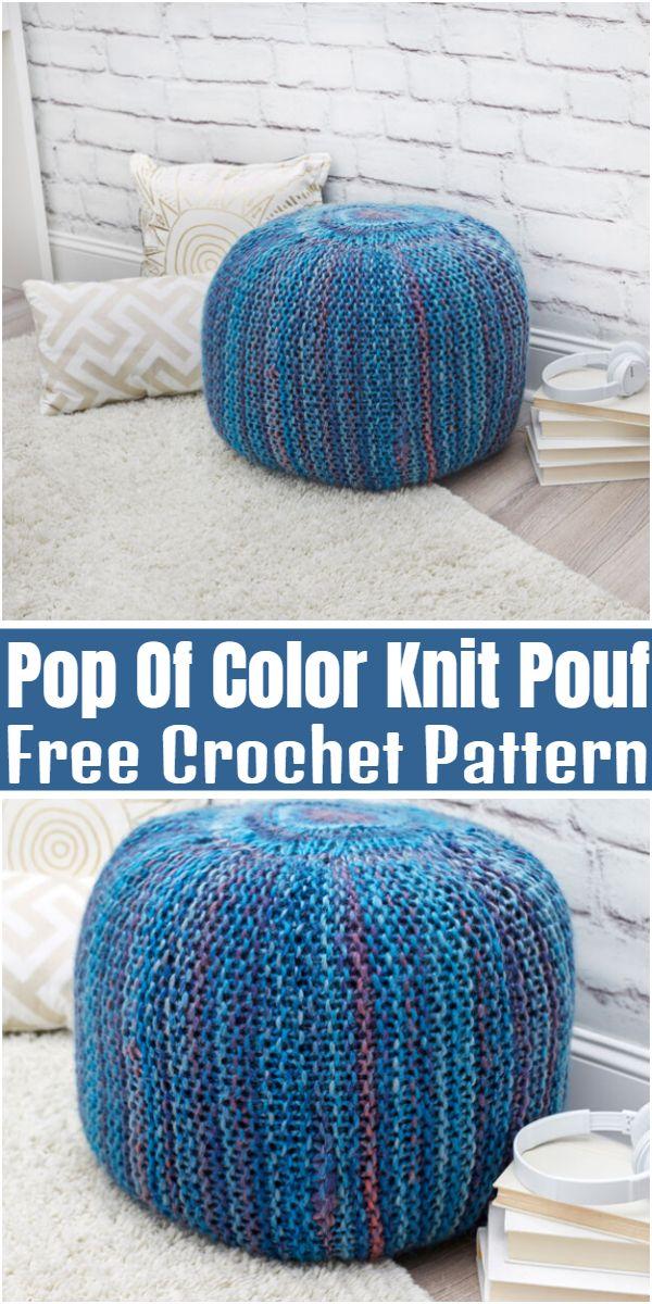 Pop Of Color Knit Pouf Free Crochet Pattern   Knitted pouf ...