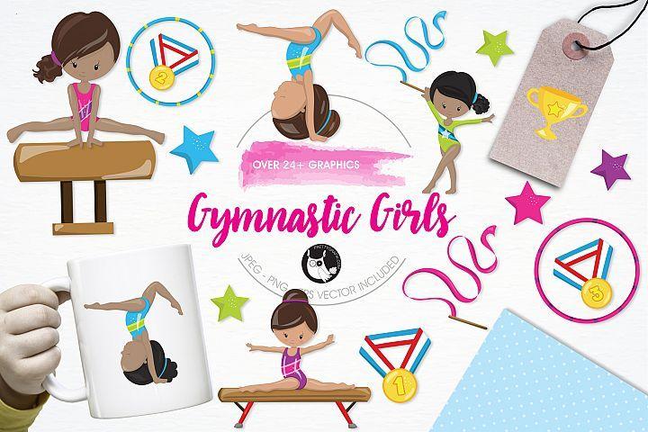Gymnastic Girls graphics and illustrations