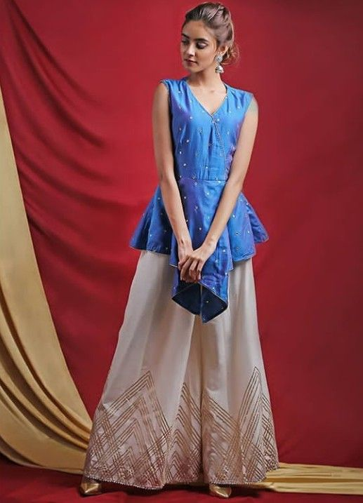 52b72a93e7a0f Beautiful Silk top with plazo. Embellished with embroidery and gota patti.