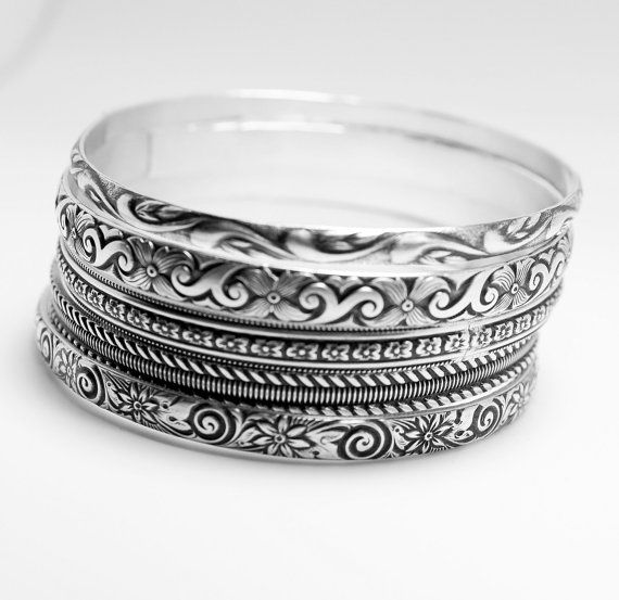 Five Sterling silver bangle braclets different by AlegraJewelry, $199.00