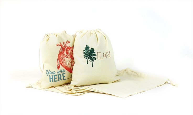 Perfect little bags for wedding favours or wedding gifts.  Digitally printed or embroidered; Make 1 or 1000 at Make Vancouver.