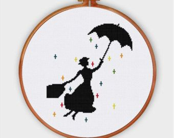 A silhouette cross stitch pattern inspired from the classic movie Singin in the rain. Easy to stitch and romantic to hang.  PATTERN SPECIFICATIONS: Stitches : full cross stitch, back stitch Colors: DMC stranded cotton Required Colors: 1 Stitch size: 64 x 131  Suggested fabric: 14 count Aida Strands: 2 Designed area: 4.57 x 9.36 inches or 9.1 x 23.8 cm  This PDF pattern contains: - Color image of the finished design - Color Symbol Chart - Black and White Symbol Chart - Floss Palette…