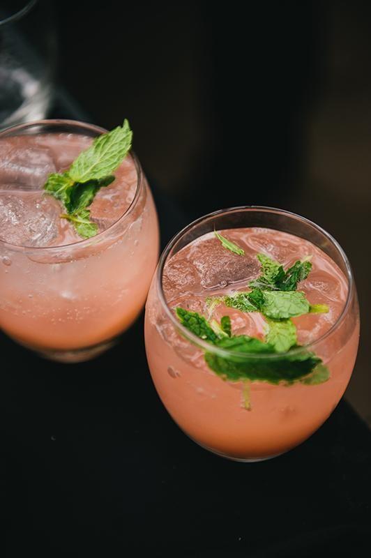 Fresh mint, strawberry puree, lime juice, lemon-lime soda and rum.