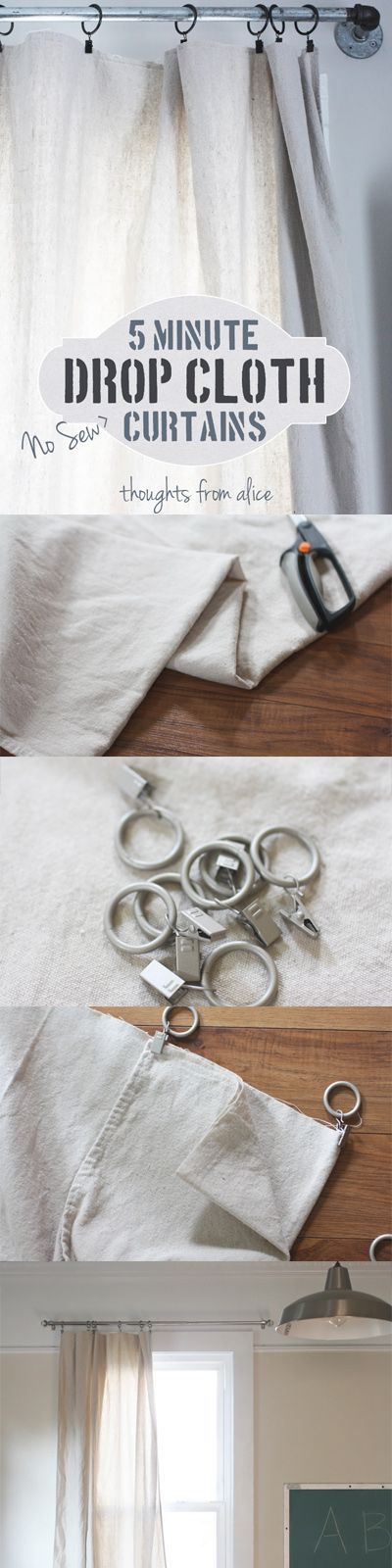 5 Minute No-Sew Drop Cloth Curtain Tutorial - Click through for full instructions and sources for these specific drop cloths and clip rings at Thought from Alice.
