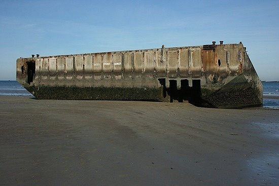 remains of the floating docks they transported the tanks off the ships in Arromanches les bains Normandy