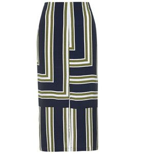 TOPSHOP Striped Split Midi Skirt