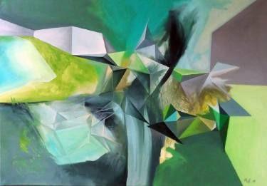 "Saatchi Art Artist Malvina - Carola Liuba; Painting, ""Geometric Greenery 3"" #art"