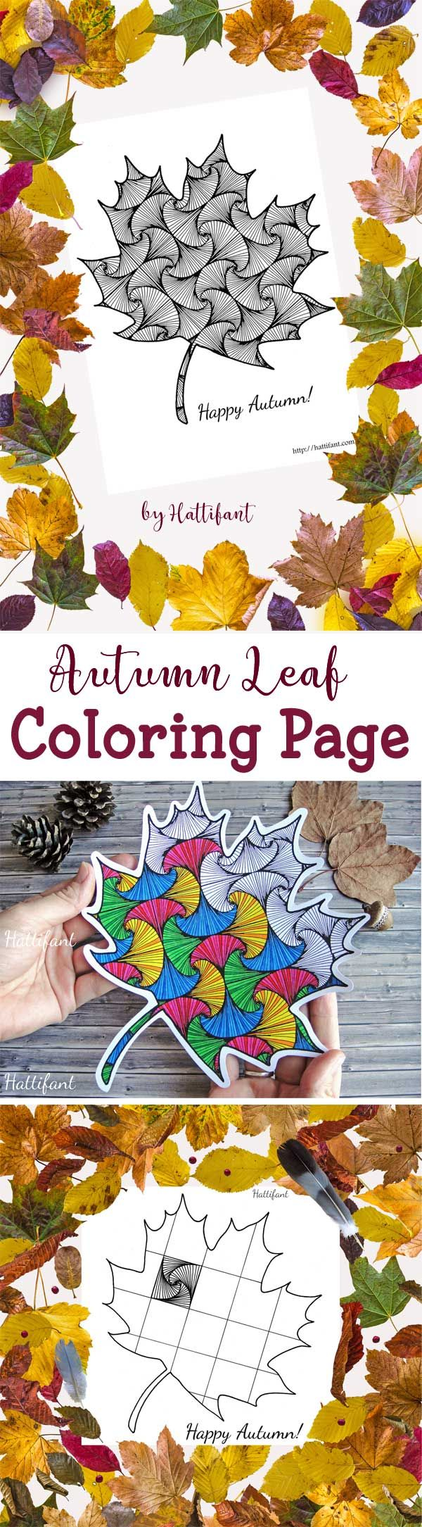 Hattifant's Paradox Square Pattern Autumn Fall Leaf Coloring Page