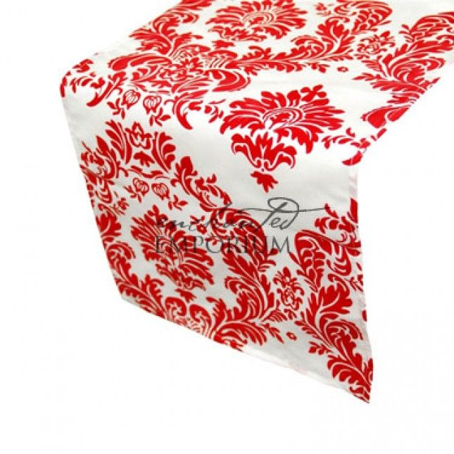 Red and White Damask Table Runner, Enchanted Emporium Event Hire
