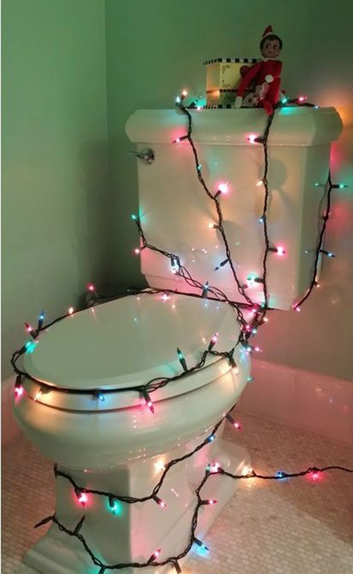 Funny Elf on the Shelf Idea – Christmas Lights on the Toilet | Single Dad Laughing by Dan Pearce #christmaslightdecorations