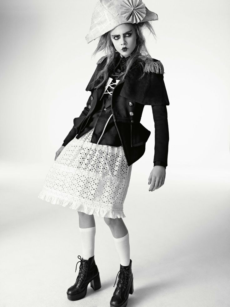 Cara Delevingne in the Winter 2013 issue of i-D Magazine wearing an  Anglomania mini crini.