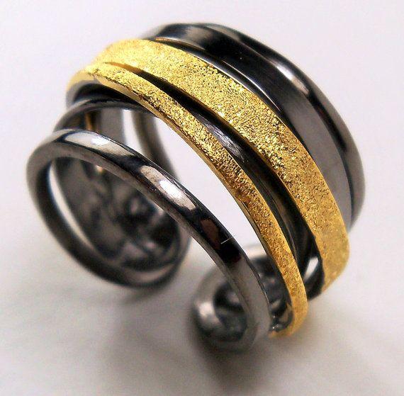 62 besten Customize multi band crossover silver ring black rhodium ...