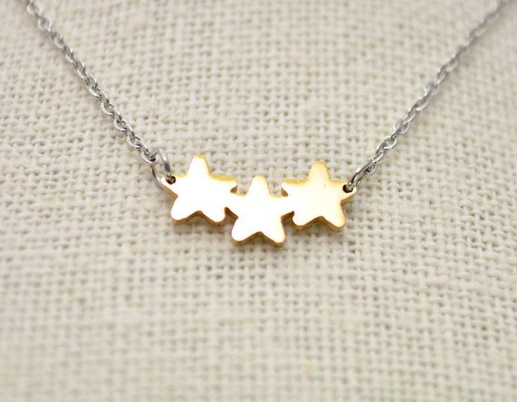 Collar Acero 3 Estrellas (Dorado)