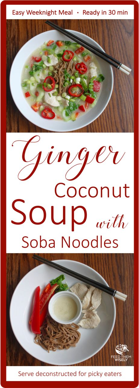 This ginger coconut soup with soba noodles is comforting, hearty, and easy enough for a weeknight dinner that can be cooked in minutes.