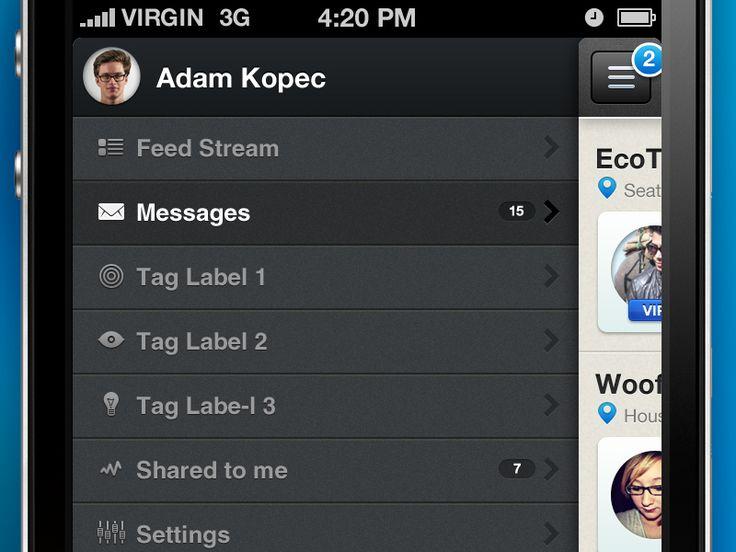 Menu for IOS App, UI, Design