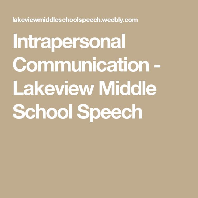Intrapersonal Communication - Lakeview Middle School Speech