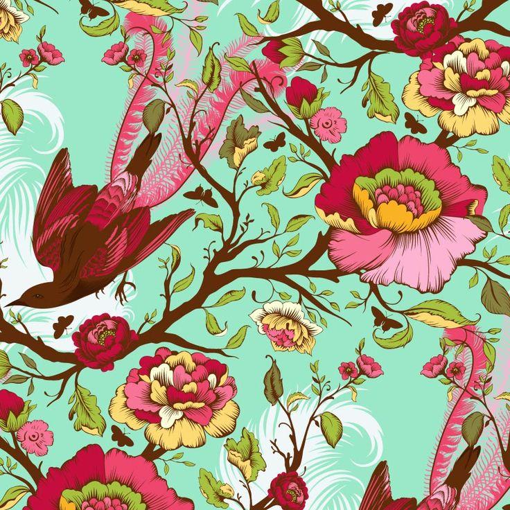 Tula Pink Plume Tail Feathers Mint Fabrics I Like