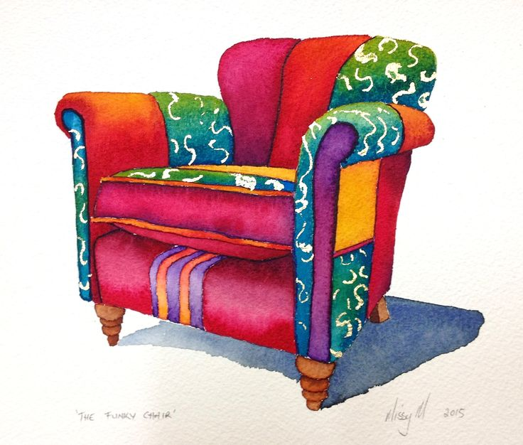 The Funky Chair  by Missy M * Framed Watercolour on Paper * 40cm x 50cm * * www.art101.com.au #Art #watercolour #British #painting #jamesstbne #brisbane #contemporary
