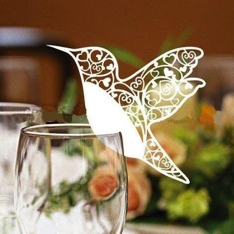 50 White Humming Birds Wedding Table Name Place Cards Wine Glass Party Decoration Favor AllHeartDesires http://www.amazon.com/dp/B00K0MKKKI/ref=cm_sw_r_pi_dp_lteUtb0956N2PJF3
