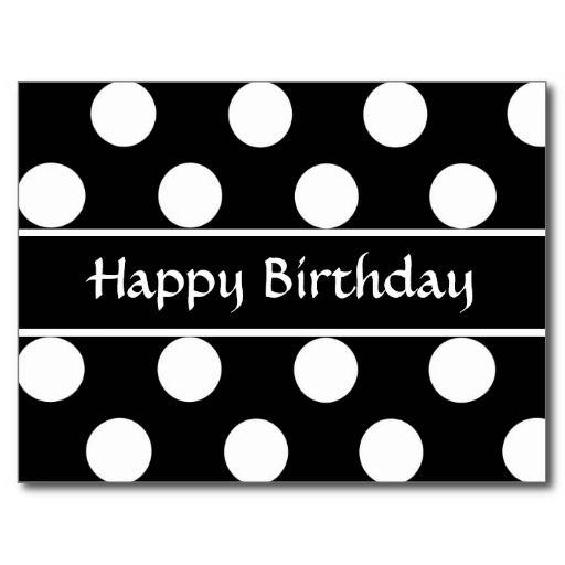 happy birthday text black png | Happy Birthday Black & White Polka Dot Post Card from Zazzle.com