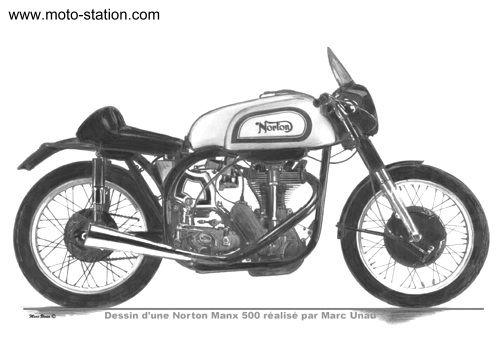 Dessin d'une Norton Manx réalisé par Marc Unau