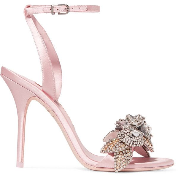 Sophia Webster Lilico crystal-embellished satin sandals ($895) ❤ liked on Polyvore featuring shoes, sandals, baby pink, sophia webster, baby pink shoes, strappy high heel shoes, high heeled footwear and strap sandals