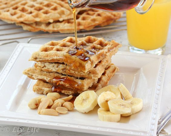 Peanut Butter Waffles with Bananas and Maple Syrup: Peanuts, Butter Waffles, Yummy Breakfast, Recipe, Bananas Waffles, Peanut Drench, Gluten Free Flour, Maple Syrup, Peanut Butter