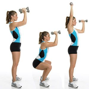 Tones: Butt, thighs, shoulders, triceps, and core    Hold a dumbbell in each hand, elbows bent in front of your torso, weights in front of your shoulders, palms facing in. Stand with your feet in a wide straddle stance, toes turned out. (A) Bend your knees and squat back, keeping your knees from extending over your toes. (B) Press back to the start position, turning your right palm forward and pressing the weight directly overhead. (C) Immediately lower into another squat, pulling your right…