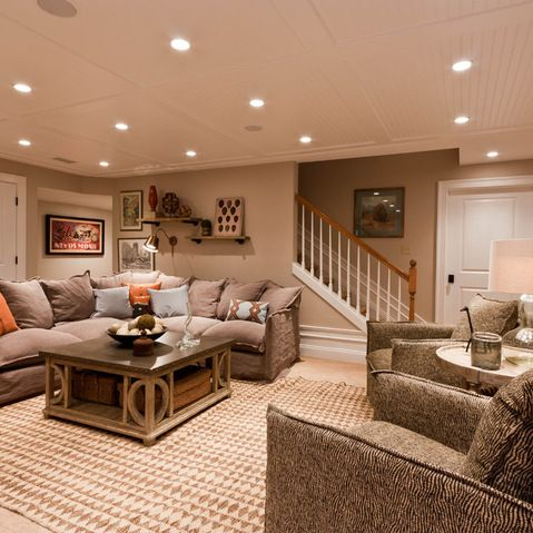 Cozy Basement- add more color and this is the exact feel I'd love in our basement someday with the sectional and chairs! Plus the higher ceilings of course...